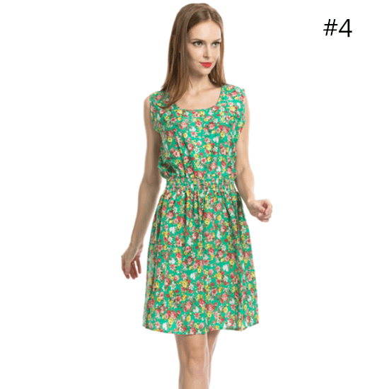 Sweet Women Summer Flower Floral Sleeveless Chiffon Comfort Skirt Knee Length Dress