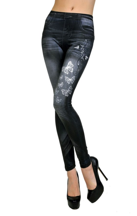 Sexy Women Jean Skinny Butterfly Jeggings Stretchy Slim Leggings Skinny Pants