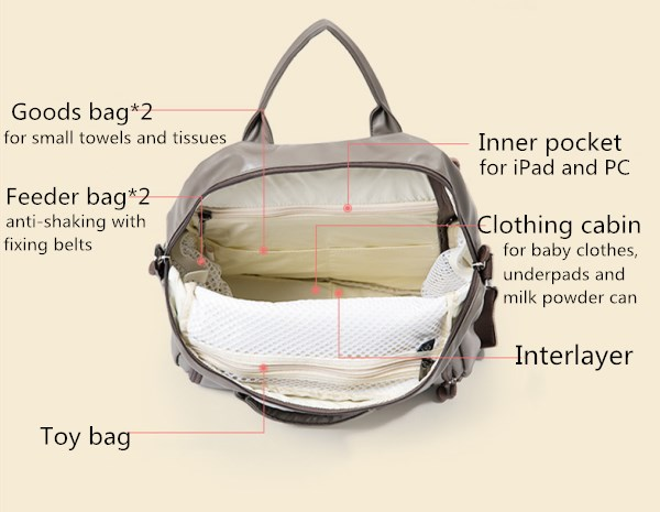 Mummy Bag Multi-function Waterproof Large Capacity Shoulders Bag Portable Crossbody Bag