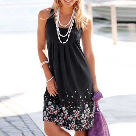 Women Summer Casual Evening Party Loose Printing Beach Dress Short Mini Dress